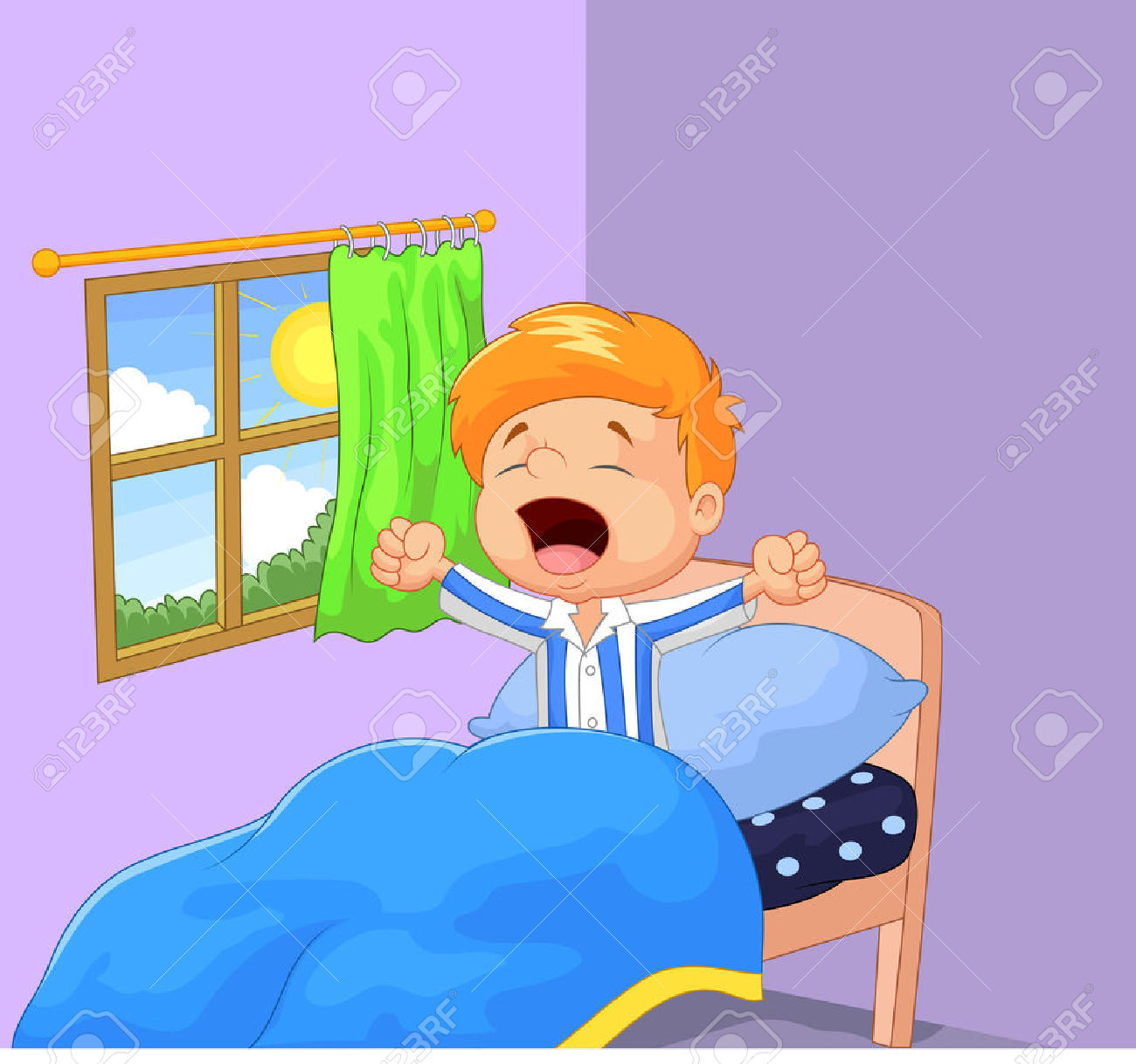 Kids waking up clipart.