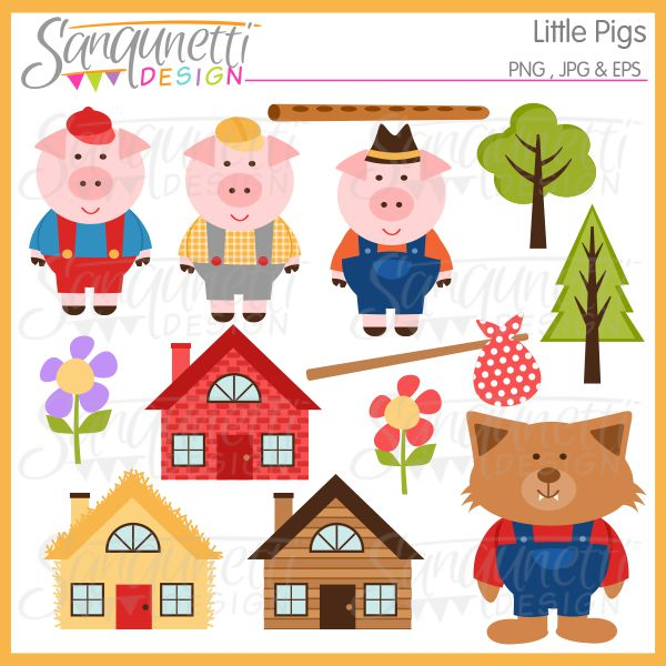 Three Little Pigs clipart, includes pigs, house of brick, house of.