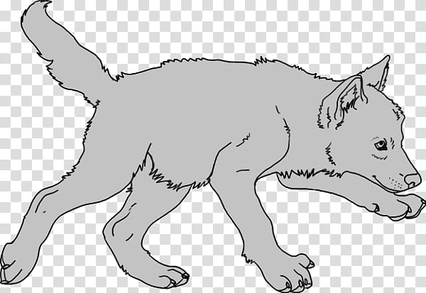Free Wolf Pup Lineart, gray puppy illustration transparent.