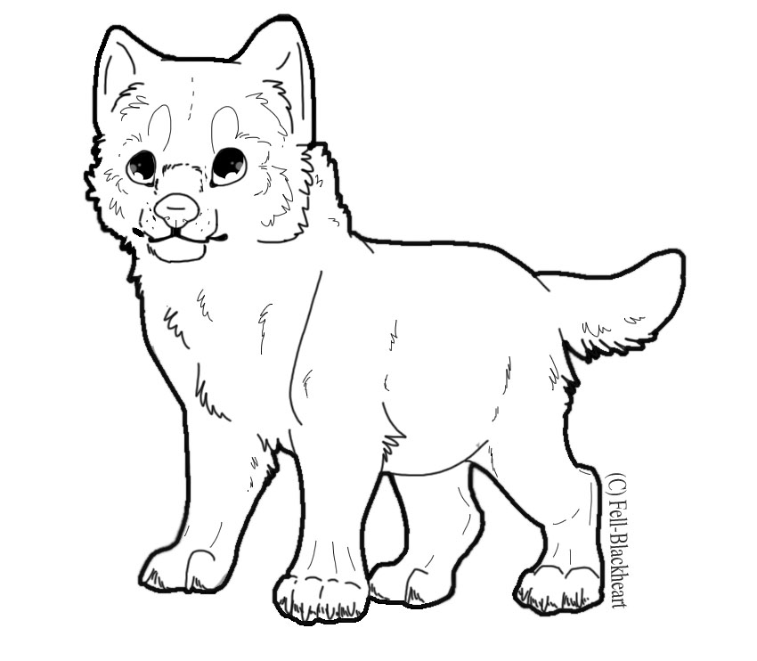 Free PSD Wolf Pup Lineart by ~Fells.