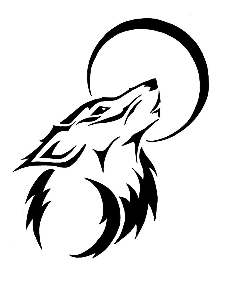 Tribal Wolf Clipart Black And White.