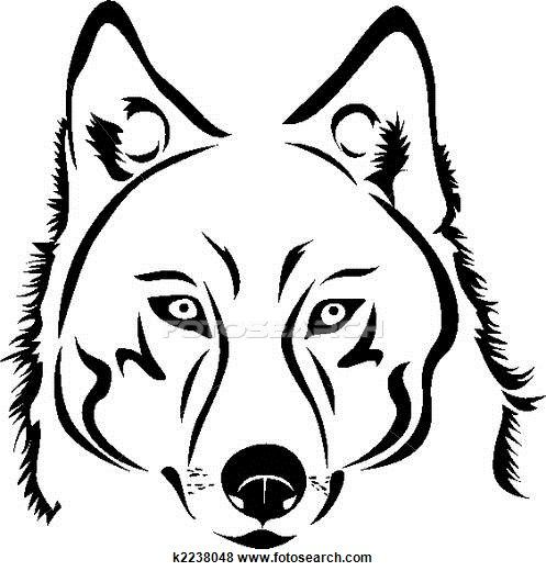 wolf black and white clipart #11