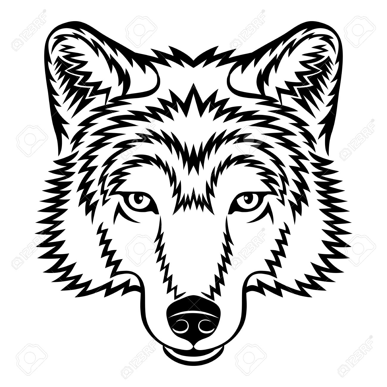 Wolf Face Black And White Clipart.
