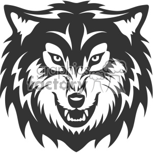 wolf growling head vector art clipart. Royalty.