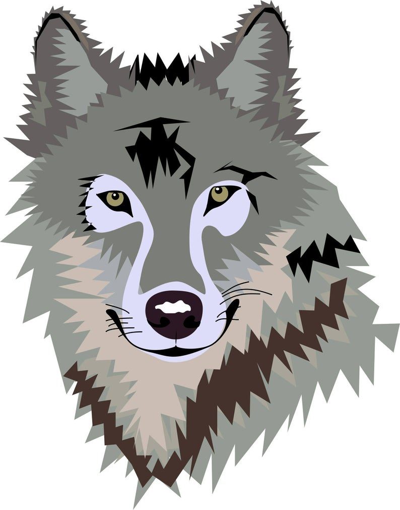Gray Silver Wolf Clipart in SVG, EPS, PNG.