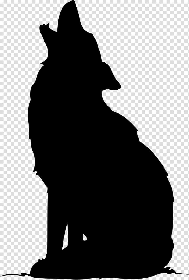 Gray wolf Coyote Silhouette , Silhouette transparent.