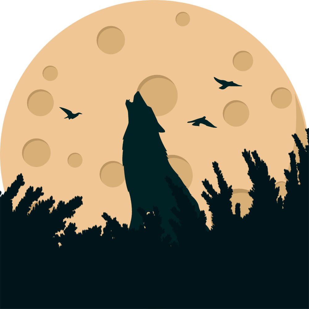 Howling Wolf Moon Birds PNG Transparent Clipart.