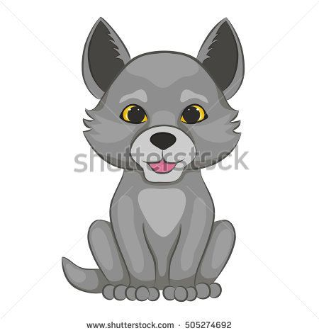 Cute cartoon wolf cub. Forest animal. Isolated on a white background.