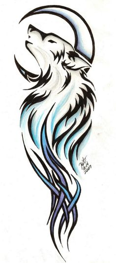 Tribal wolf dreamcatcher tattoo design I did for a friend. Lacey.