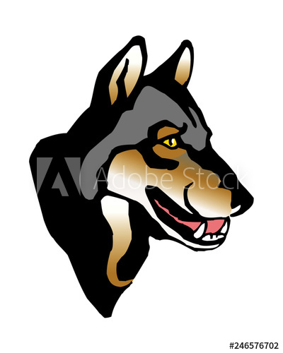 wolf gray head profile with yellow eyes clipart.