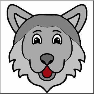 Clip Art: Cartoon Animal Faces: Wolf Color I abcteach.com.