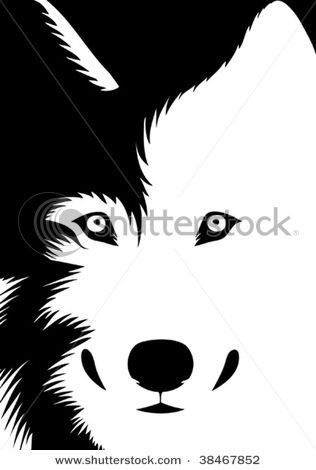 picture of a wolf in black and white in a vector clip art.