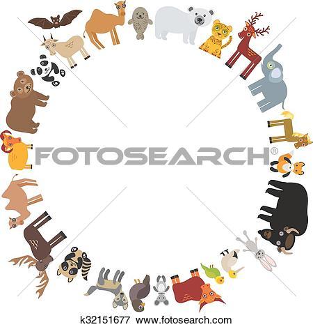 Clip Art of round frame. animal card template. bison bat fox wolf.