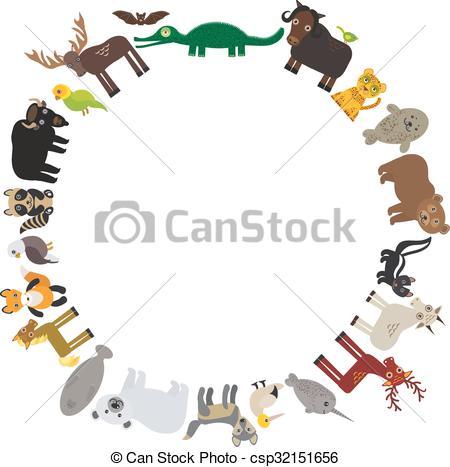 Clipart Vector of Animal round frame, bison bat manatee fox elk.