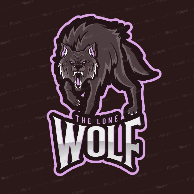 Gaming Logo Maker Featuring a Lonely Wolf Clipart 2680a.