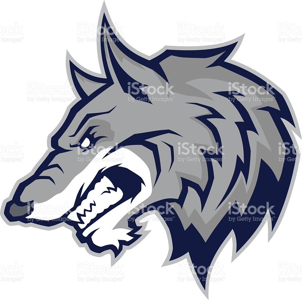 Clipart picture of a wolf head cartoon mascot character.