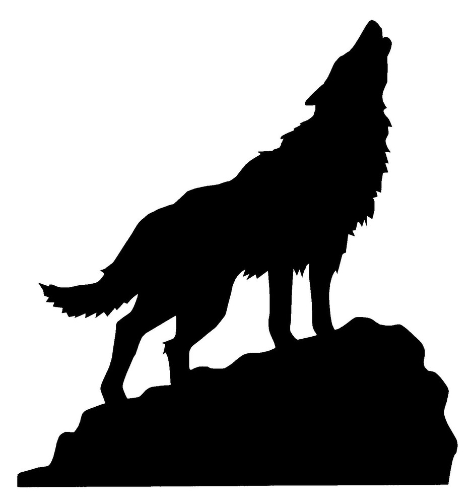 Real Wolf Howling Silhouette.