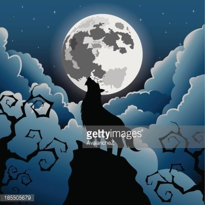 Silhouette Wolf howling at the moon Clipart Image.