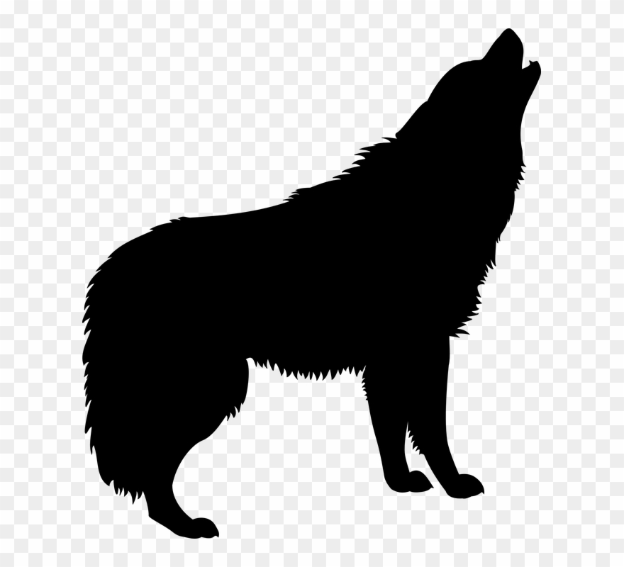 Wolf Howling Silhouette Png Clipart (#757045).
