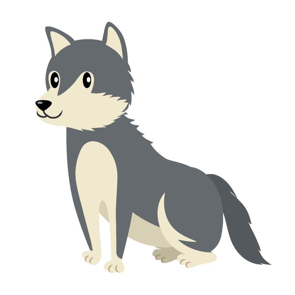Free Sitting Wolf Clipart Image|Illustoon.