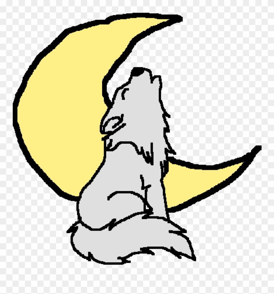 Moonlight Howling Gray Wolf Clipart (#2992679).