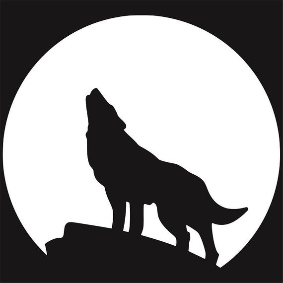 Wolf Howling at the Moon Silhouette, Wolf Clip Art, Moon svg, Moon Stencil,  Wolves svg, Wolf Silhouette, Wolf Stencil, Crescent Moon svg.