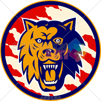 Stock Illustration of Logo growling open mouth wolf mascot.