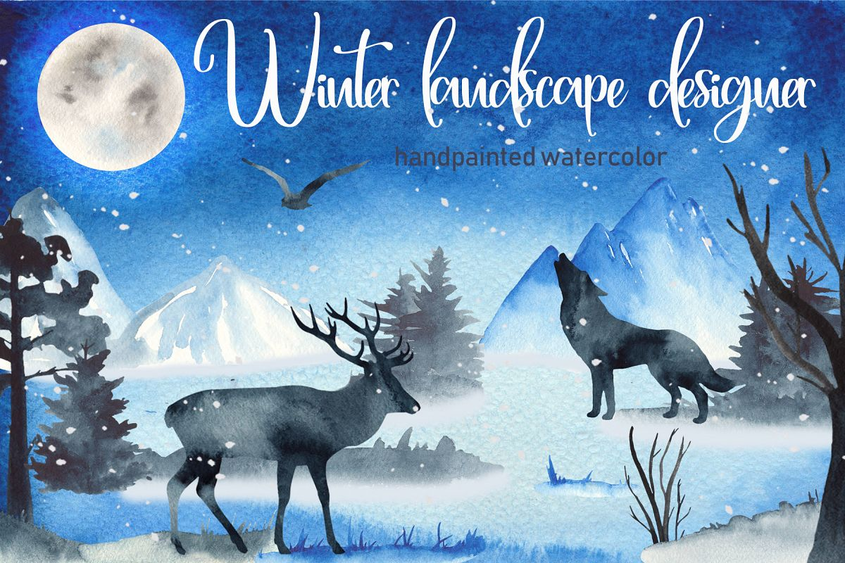 Winter ladscape watercolor clipart Silhouette deer and wolf.