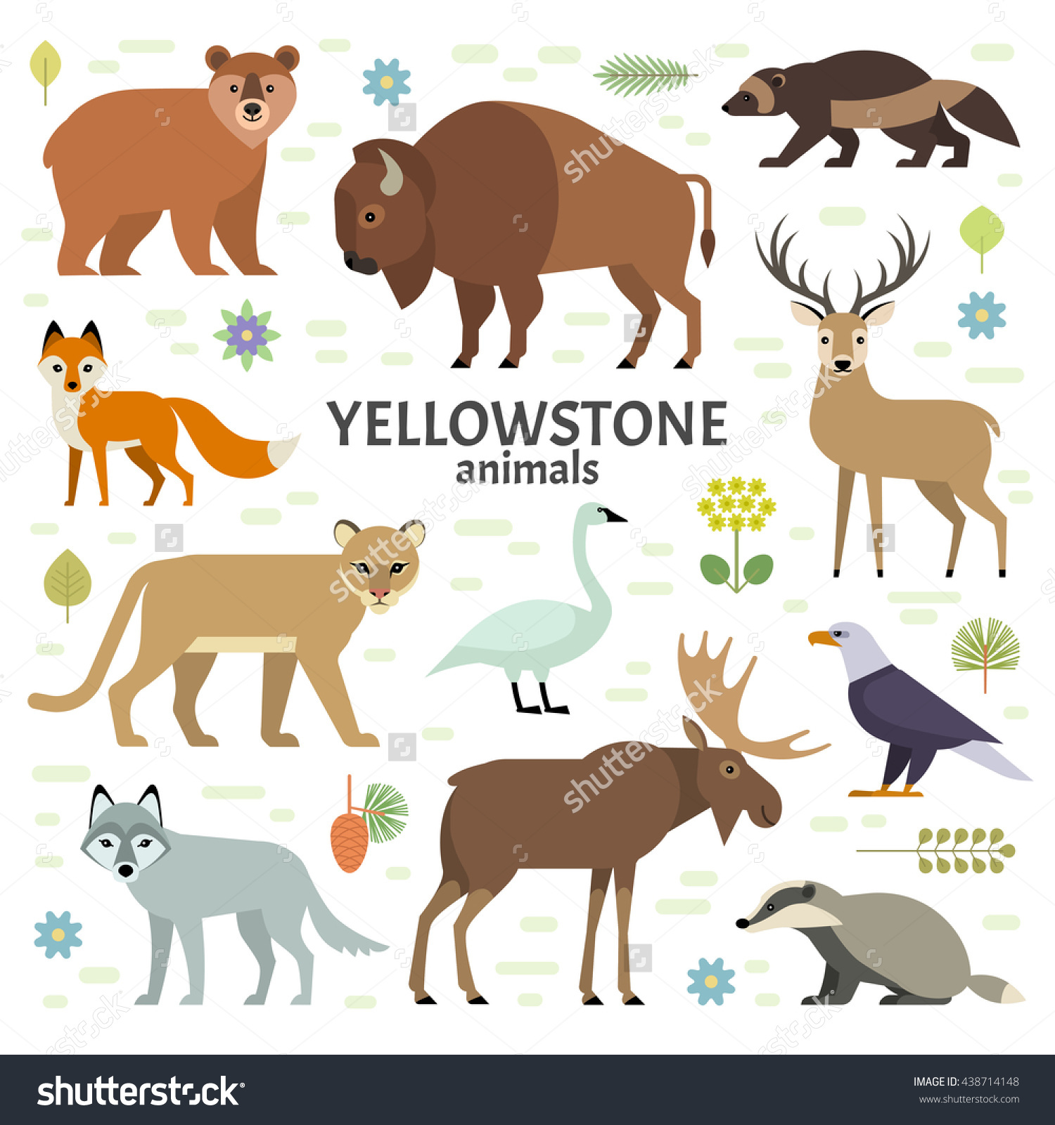 Vector Illustration Yellowstone National Park Animals Stock Vector.