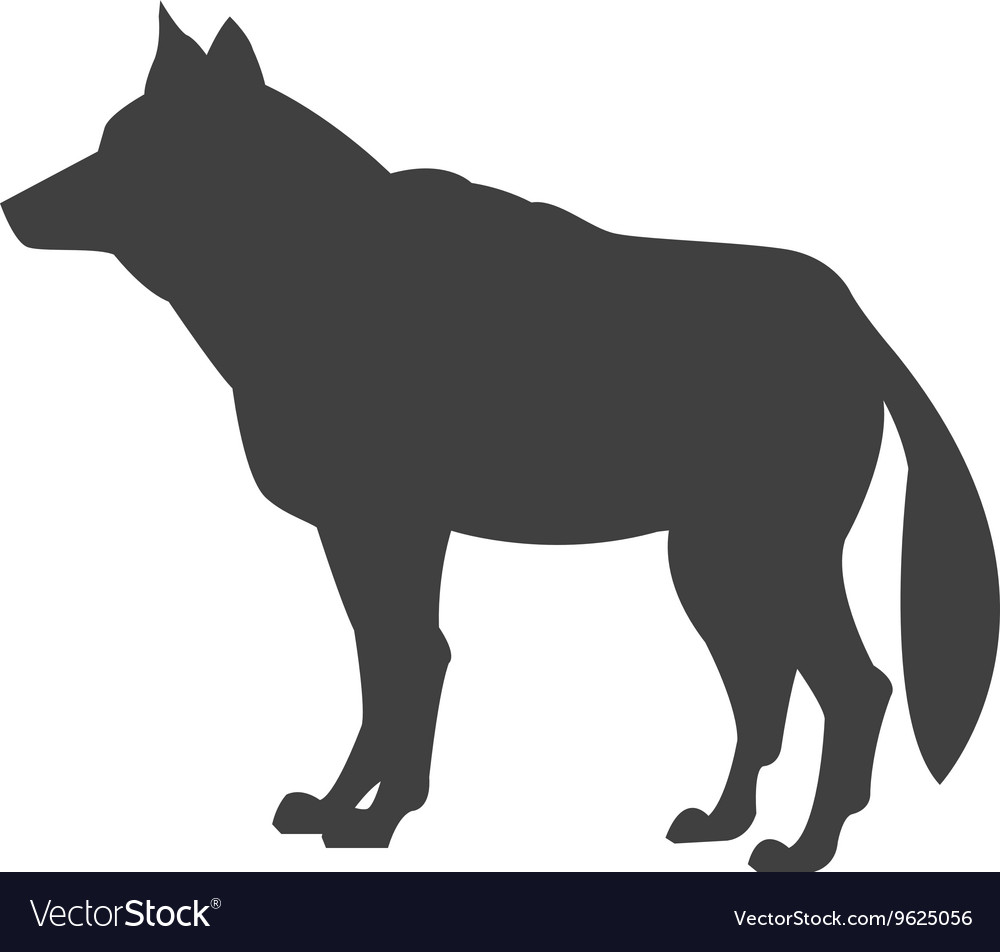 Wolf Side View Silhouette.