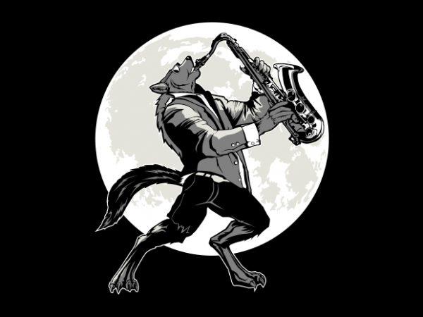 jazz wolf vector clipart.
