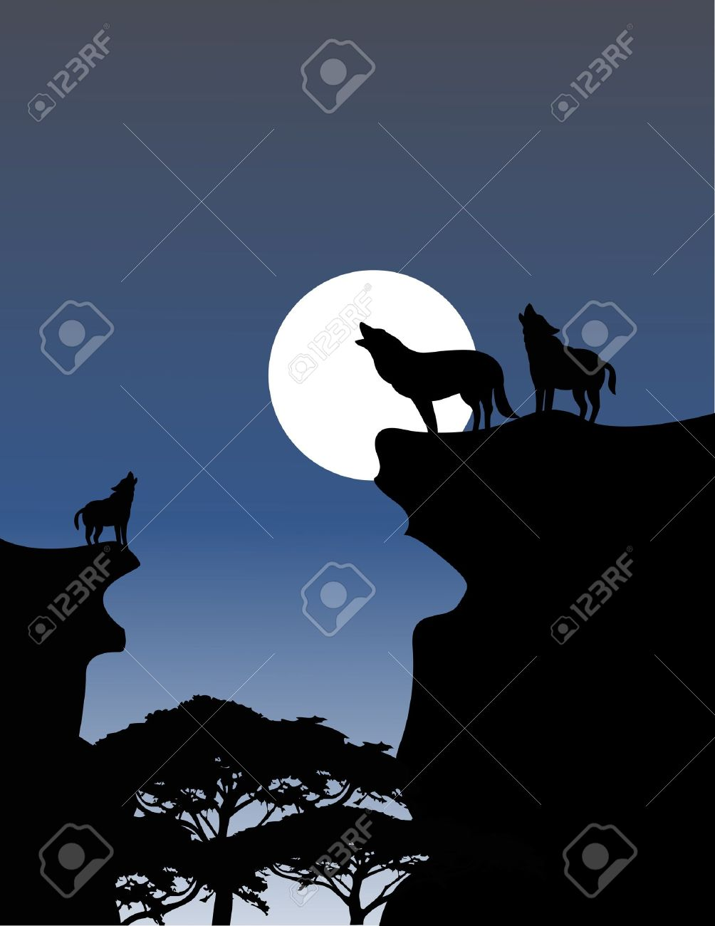 Wolf On Mountain Silhouette.