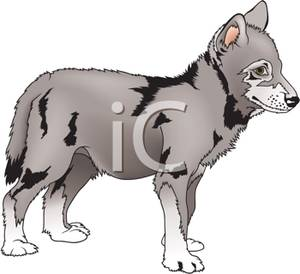 Clip Art Image: A Cute Wolf Pup.