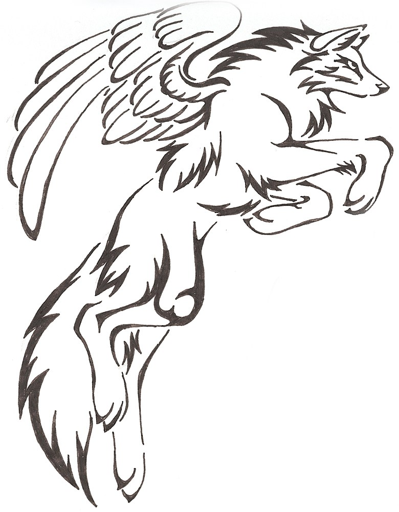 Wolf With Wings Drawing.