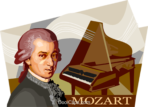 Wolfgang Amadeus Mozart Royalty Free Vector Clip Art illustration.