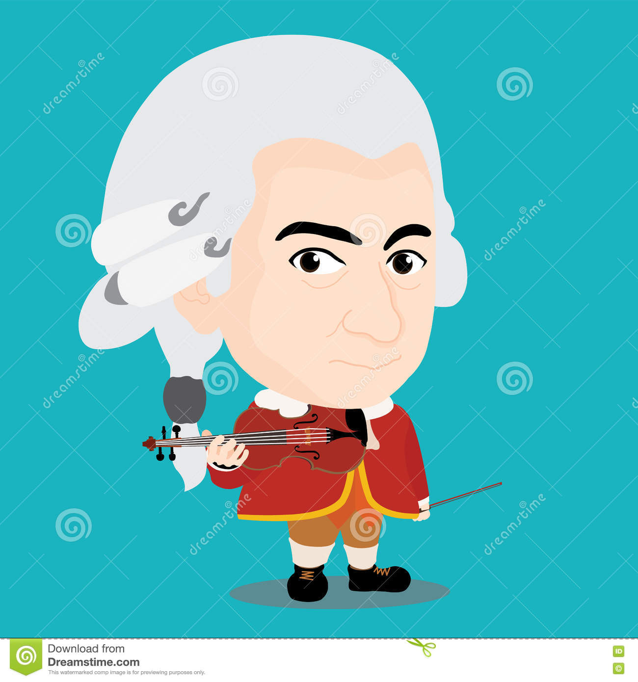 Wolfgang Amadeus Mozart Character Stock Vector.