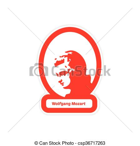 Clip Art Vector of paper sticker on white background Wolfgang.