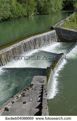 Stock Photograph of Fish ladder, Loisach river, historic centre of.