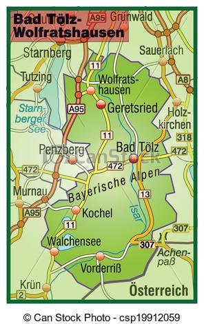 Clipart Vector of Map of Bad Toelz Wolfratshausen with highways.