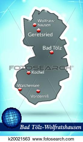 Clipart of Map of Bad Toelz Wolfratshausen k20021563.