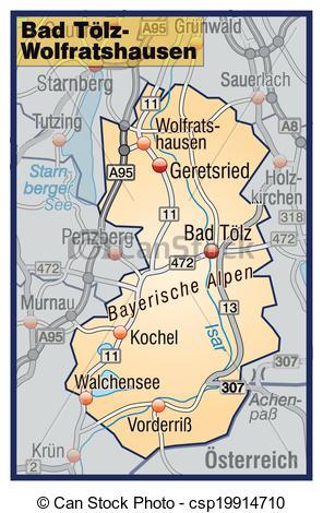 Vector Clip Art of Map of Bad Toelz Wolfratshausen with highways.