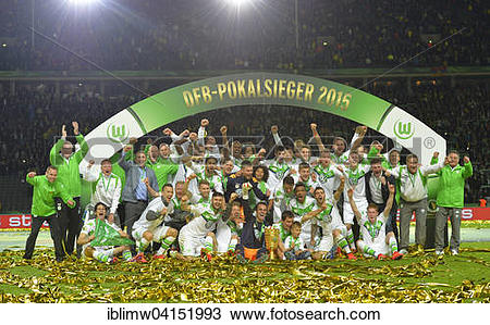Stock Photo of Team photo Wolfsburg, 2015 German Cup winners.