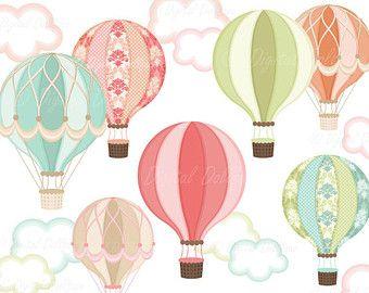 Digitální Horkovzdušný balón kliparty, Hot Air Balloon Party tisk.
