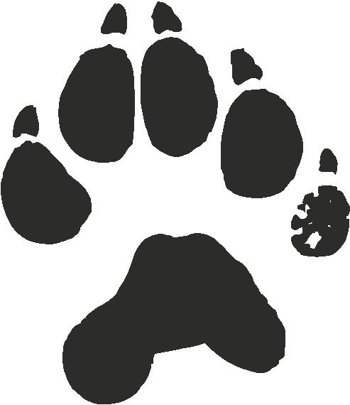 Wolverine paw print clipart.