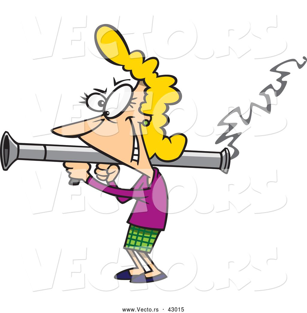Vector of a Happy Cartoon Woman Shooting a Bazooka by.