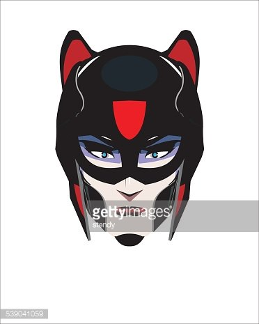 black cat woman. Female superhero Clipart Image.