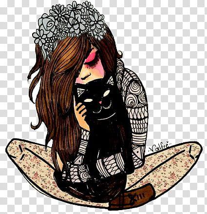 woman and black cat clipart #5
