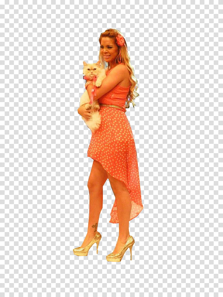 Sheyla Rojas , woman in an orange dress with white chihuahua.