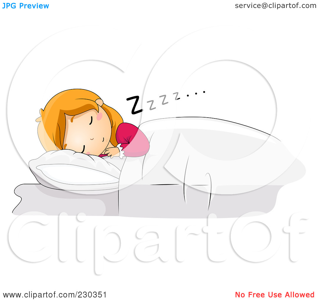 Woman Asleep In Bed Drawing Free Clipart.