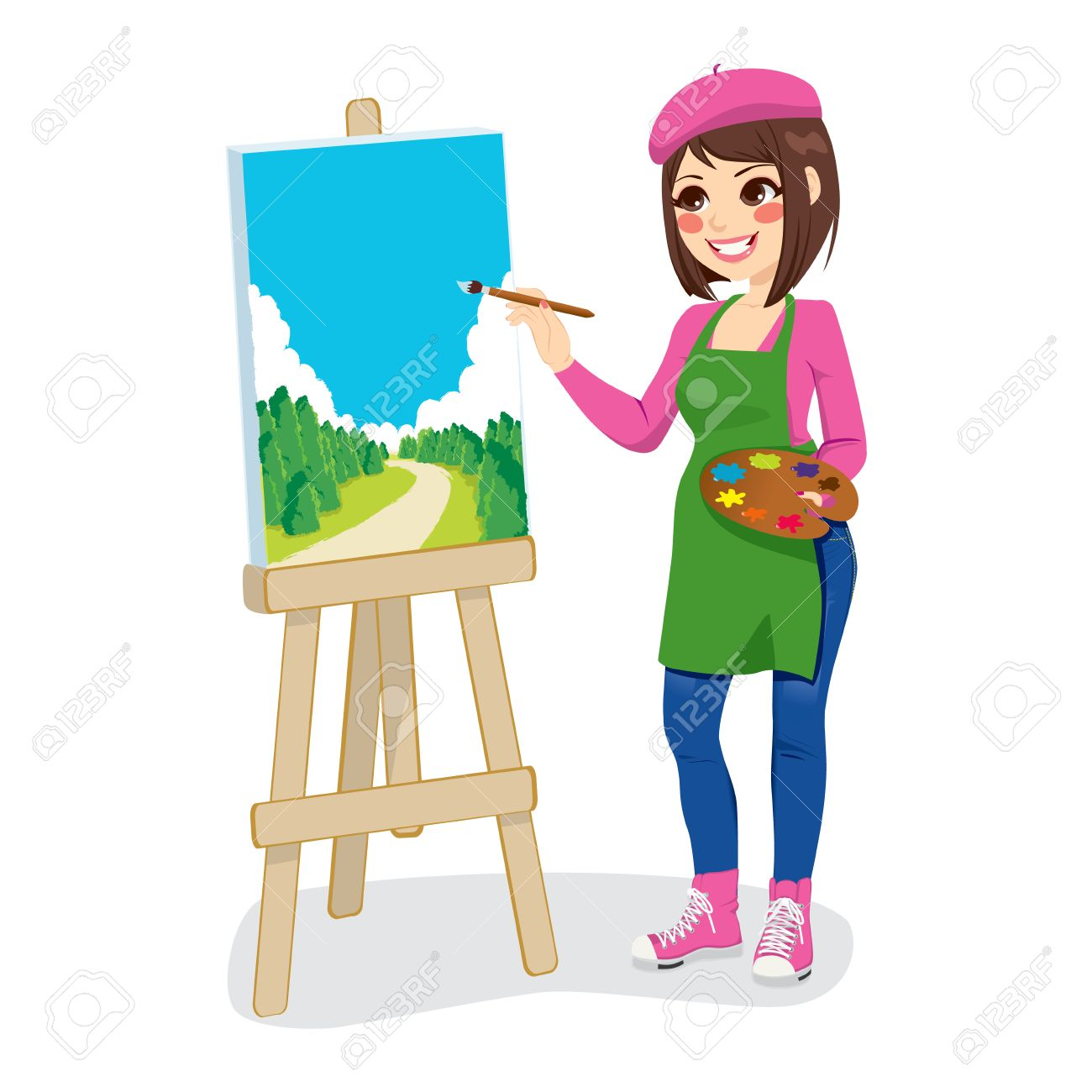 Beautiful artist woman painting green park on canvas.